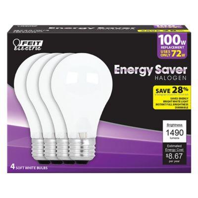 Buy Feit Electric 72 watt Soft White Energy Saving Halogen Bulb; A19; 100 watt Equivalent; Pack of 4 Online