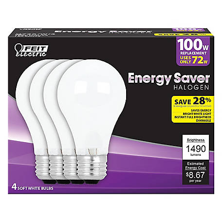 Feit Electric 72 watt Soft White Energy Saving Halogen Bulb, A19, 100 Watt Equivalent, Pack of 4, Q72A/W/4/RP