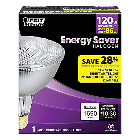 Feit Electric 86 watt Soft White Energy Saving Halogen PAR38 Reflector, 120 Watt Equivalent, 85PAR38/QFL/ES