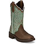 Justin Women's Raya Turquoise & Barnwood Brown Cowhide Gypsy Boots