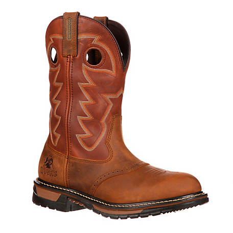 Rocky Original Ride Branson Saddle Roper Western Boot Saffron Brown FQ0002775