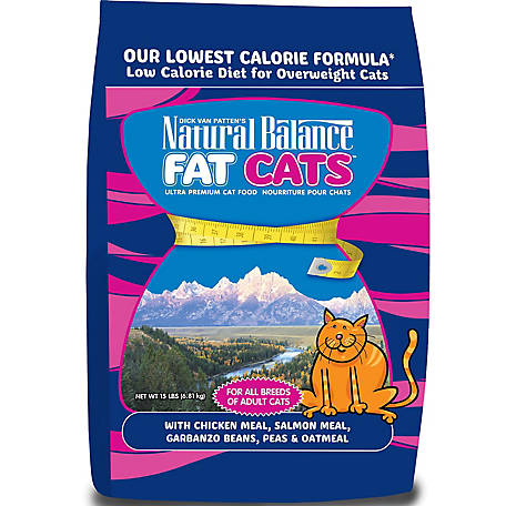 Natural Balance Fat Cats Chicken & Salmon Formula Low Calorie Dry Cat Food, 15 lb.