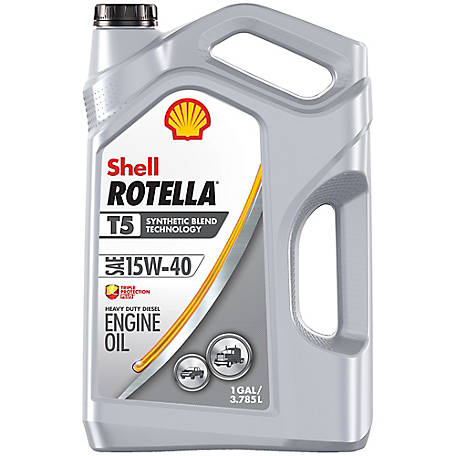 Shell ROTELLA T5 Synthetic Blend 15W-40 Motor Oil, 1 gal.