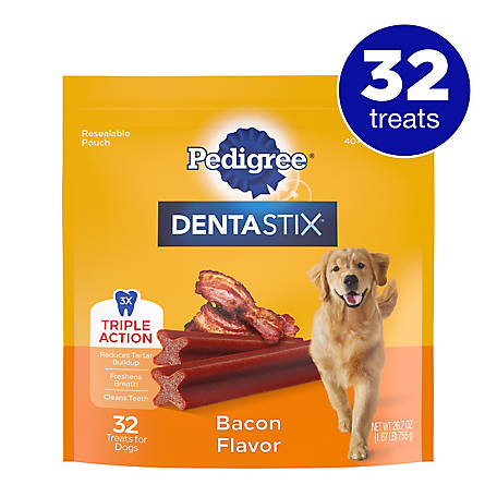 Pedigree Dentastix Bacon Flavor Treat, Large Dog, Pack of 32