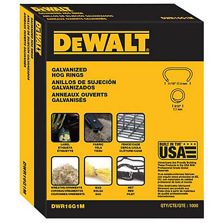DeWALT Hog Rings, Galvanized, Pack of 1,000