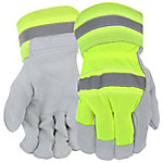 West Chester Protective Gear Men's Hi-Vis Split Leather Palm Gloves