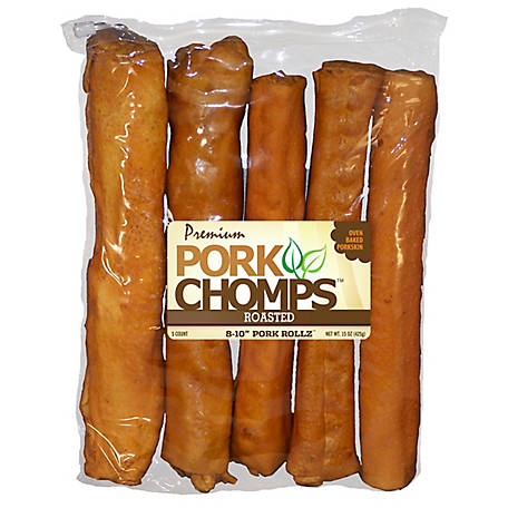 Pork Chomps Premium 8-10 in. Roasted Retriever Rolls, Pack of 5,