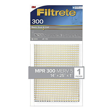 3M Filtrete Basic Dust Filter, 14 in. x 25 in. x 1 in.