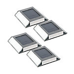 Nature Power Solar Powered LED Pathway Lights, Stainless Steel Finish, Pack of 4