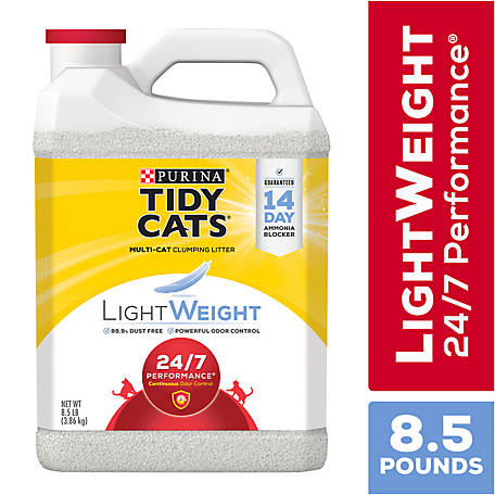 Tidy Cats LightWeight Clumping Litter 24/7 Performance for Multiple Cats, 8.5 lb. Jug