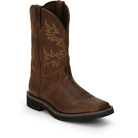 Justin Men S 11 In Cowhide Plain Toe Stampede Boot At Tractor Supply Co