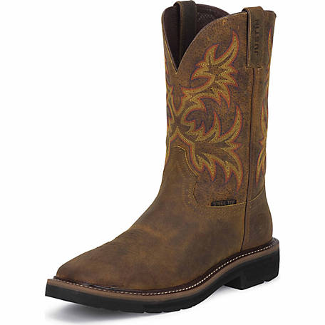 Justin Men's 11 in. Cowhide Steel Toe Stampede Boot