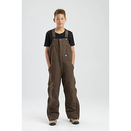 Berne Youth's Sanded/Washed Duck Quilt-Lined Insulated Bib Overall