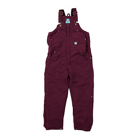 Berne Girl's Sanded/Washed Duck Quilt-Lined Insulated Bib Overall