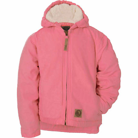 Berne Girl's Sanded/Washed Duck Sherpa-Lined Hooded Coat