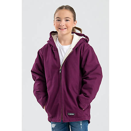 154d5f93f3a Berne Girl s Sanded Washed Duck Sherpa-Lined Hooded Coat at ...