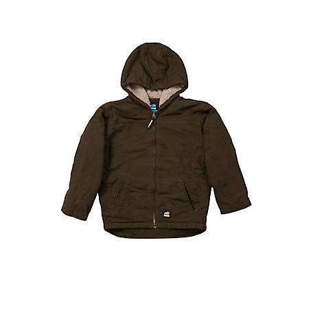 Berne Youth's Sanded/Washed Duck Sherpa-Lined Hooded Coat
