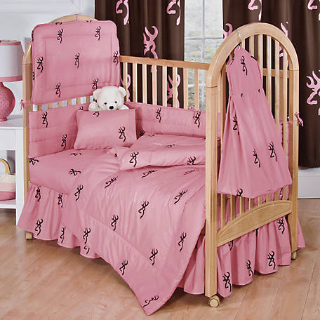 Browning Pink Buckmark Crib Bed Skirt