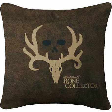 Bone Collector Square Logo Pillow, Brown