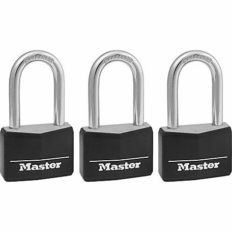 Master Lock 1-9/16 in. Covered Solid Body Padlock, 1-1/2 in. Shackle, Pack of 3, 141TRILF