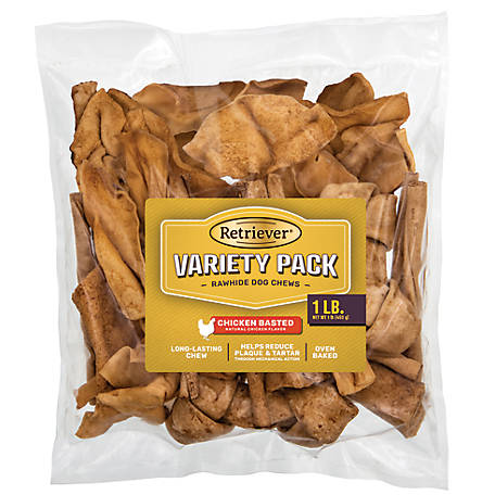 Retriever Chicken Basted Rawhide Chews, Variety Pack, 1 lb.