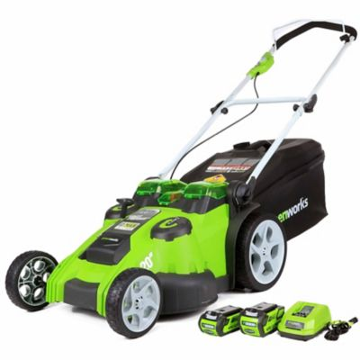 Buy Greenworks 25302 G-MAX 40V Twin Force (Dual-Blade) Lawn Mower Includes 4Ah Battery; 2Ah Battery; Charger Online