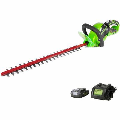 Buy Greenworks 22262 G-MAX 40V 24 in. Cordless Hedge Trimmer Includes 2Ah Battery and Charger Online