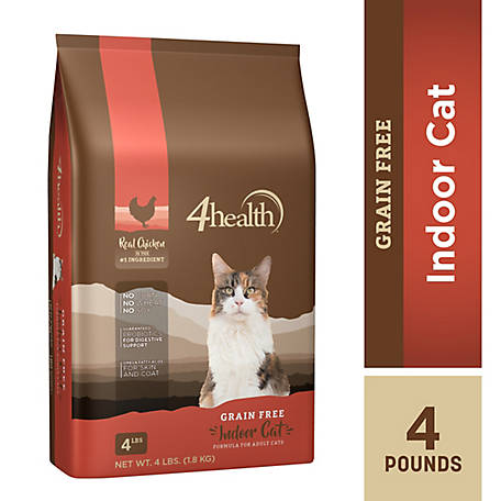 4health Grain Free Indoor Cat Formula for Adult Cats, 4 lb. Bag