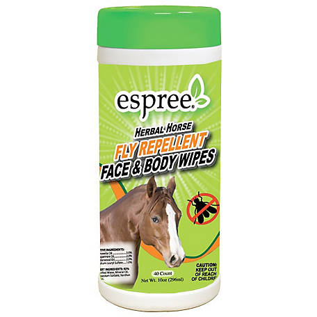Espree Aloe Herbal Horse Fly Repellent Face & Body Wipes, Pack of 40