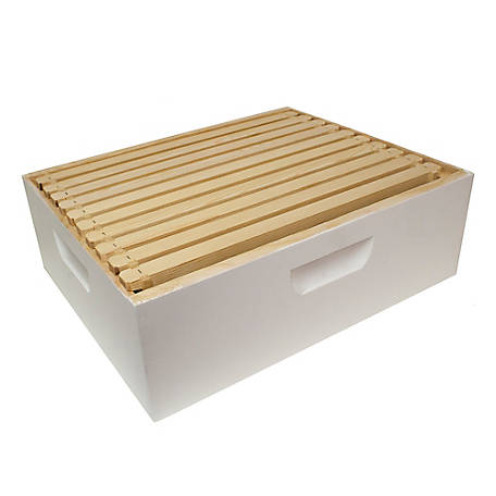 Harvest Lane Honey Beehive Medium Super Complete with 10 Frames & Foundation, 16-1/4 in. x 19-7/8 in. x 6-5/8 in., WWBCM-102