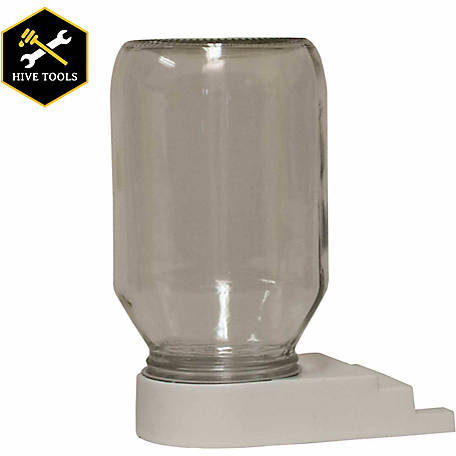 Harvest Lane Honey Beehive Entrance Feeder with 1 qt. Glass Jar