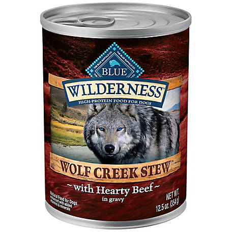 Blue Buffalo Wilderness Wolf Creed Stew Hearty Beef Stew Grain-Free Adult Canned Dog Food, 12.5 oz.