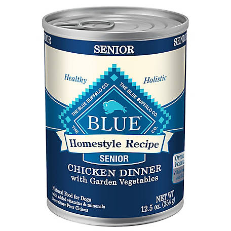 Blue Buffalo Homestyle Recipe Senior Chicken Dinner with Garden Vegetables Canned Dog Food, 12.5 oz.