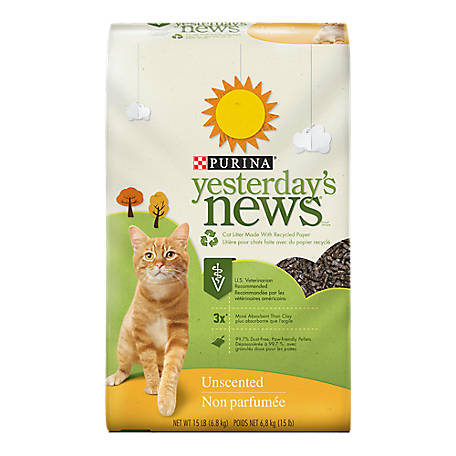 Yesterday's News Purina Yesterday's News Paper Cat Litter; Unscented Low Tracking Cat Litter, 15 lb. Bag, 047557100159