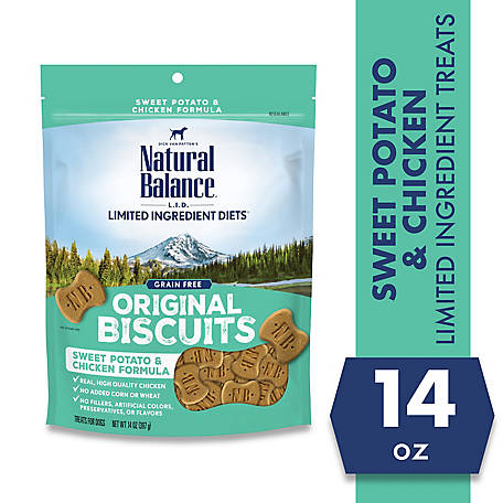 Natural Balance L.I.T. Limited Ingredient Treats Sweet Potato and Chicken Formula Dry Dog Treats, 14 oz.