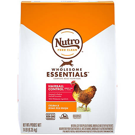 Nutro WHOLESOME ESSENTIALS Adult Hairball Control Natural Dry Cat Food Farm-Raised Chicken and Brown Rice Recipe, 14 lb. Bag