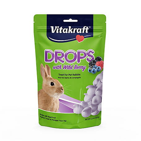 Vitakraft Drops with Wildberry Treat for Pet Rabbits, 5.3 oz., 25443