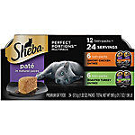 Sheba Perfect Portions Multipack Pate Savory Chicken Entree & Roasted Turkey Entree Grain-Free Cat Food, 2.6 oz., Pack of 12
