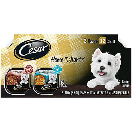 Cesar Home Delights Variety Pack Chicken & Vegetables and Beef Stew Dog Food, Pack of 12