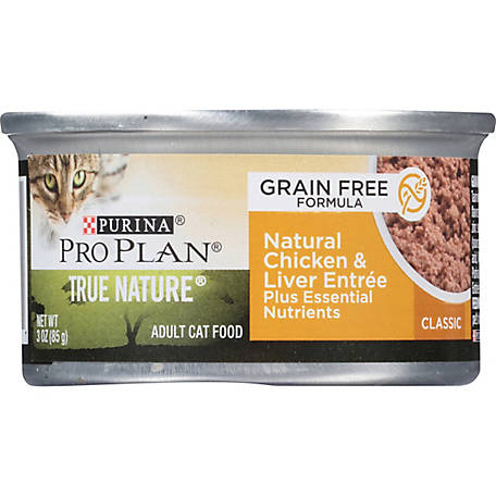 Purina Pro Plan Natural, High Protein, Grain Free Pate Wet Cat Food,  TRUE NATURE Chicken & Liver, 3 oz. Pull-Top Can