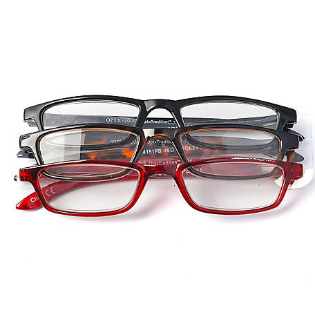 OPTX 20/20 Reading Glasses, Classic, 1.25, Pack of 3