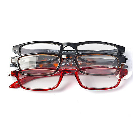 OPTX 20/20 Reading Glasses, Classic, 2.00, Pack of 3