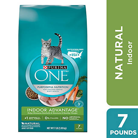 Purina One Indoor Advantage Premium Adult Dry Cat Food, 7 lb. Bag