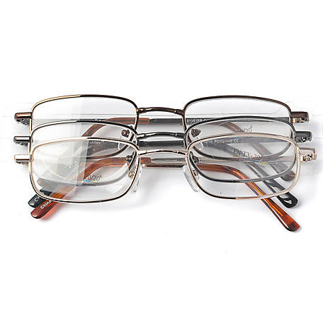 OPTX 20/20 Reading Glasses, Alloy, 1.25, Pack of 3