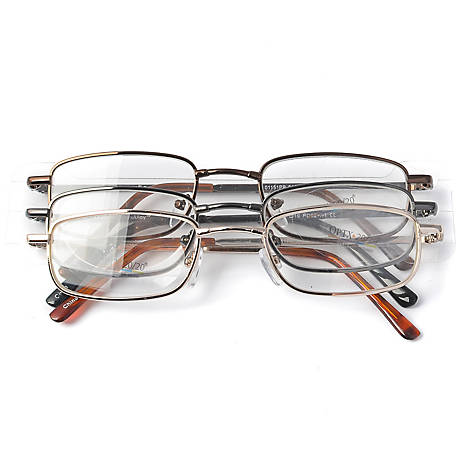 OPTX 20/20 Reading Glasses, Alloy, 2.00, Pack of 3