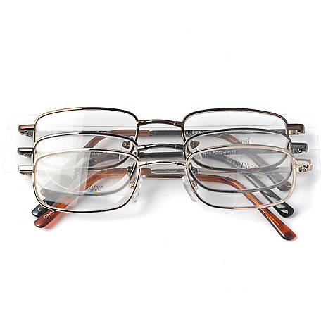 OPTX 20/20 Reading Glasses, Alloy, 2.50, Pack of 3