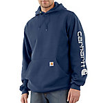 Carhartt Men's Mid-Weight Signature Sleeve Logo Hooded Sweatshirt