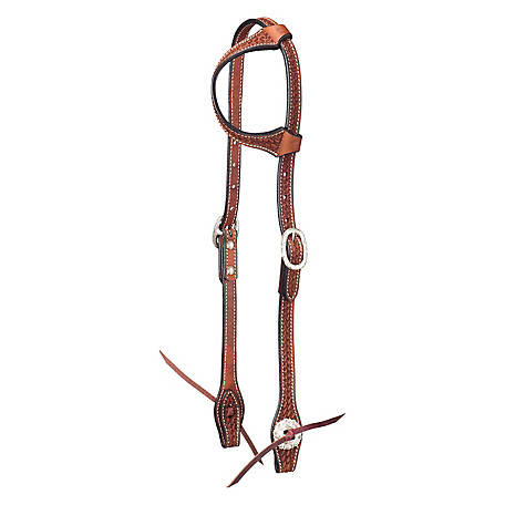 Tough-1 Leather Single Ear Headstall, Basket Stamp with Silver Hardware