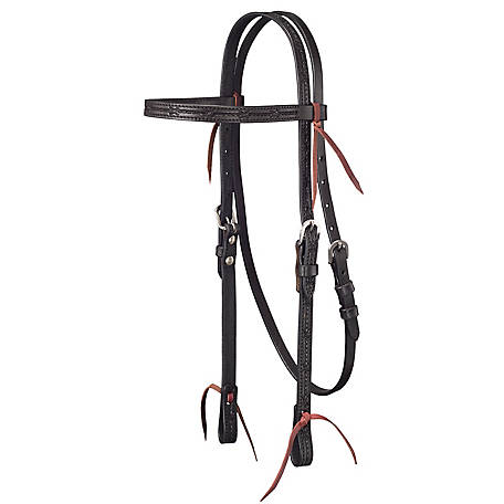 Tough-1 Leather Straight Brow Headstall with Barbed Wire Detail