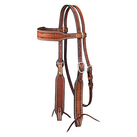 Tough-1 Leather Wide Brow Headstall with Barbed Wire Detail, Medium Oil